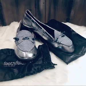 Silver Metallic With Blue Stripes Foldable Flats